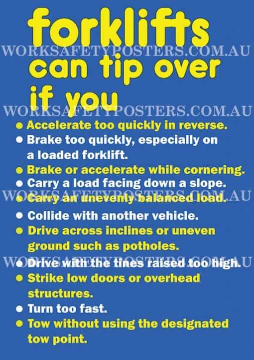 Forklifts Can Tip Over Workplace Safety Posters