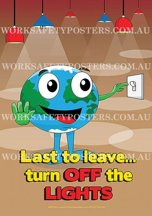 Save Energy Turn Off the Lights Safety Poster