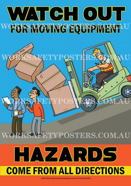 Watch Out For Moving Equipment Safety Posters