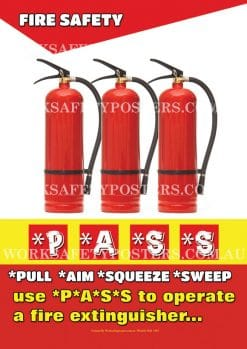Fire Extinguisher PASS Safety Poster